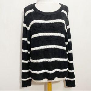CATO crochet stripe pullover knit sweater XL